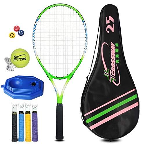 Raquetas De Tenis Para Niños Traje Individual para Principiantes Adultos Carbono De 25 Pulgadas Duradera (Color : Green Plus Blue, Size : 25 Inches)