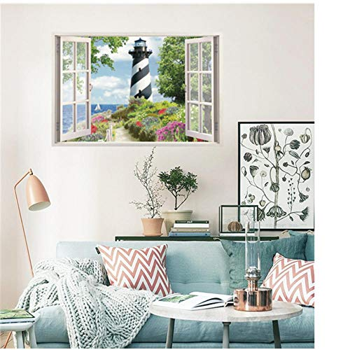 Annqing Wand-Aufkleber-Ausgangsdekoration 3D-Fälschungs-Fenster Leuchtturm-Aufkleber Für Kinderzimmer-Wand-Dekor 50X70Cm