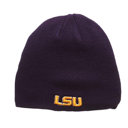 Zephyr LSU Tigers Purple Edge Skull Cap - NCAA Cuffless Winter Knit Beanie Toque Hat
