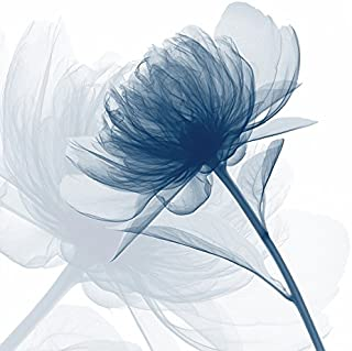 Wieco Art Blue Flickering Flower Modern Abstract Canvas Wall Art Gallery Large Wrapped Perfect Floral Pictures Paintings on Canvas Print Artwork Ready to Hang for Living Room Bedroom Home Decor L