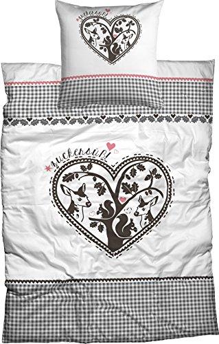 Adelheid Bettwäsche Zuckersüß, Renforcè, 155x220 cm + 80x80 cm, 2-TLG. Set, Scherenschnitt, weiß