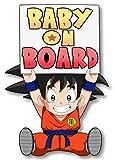 Orange Marchande Super Cute Goku Anime Dragon Ball z Baby on Board Sticker Vinyl Decal for Bumper Cars Locker Truck Vehicle Window (7 Inches Tall)