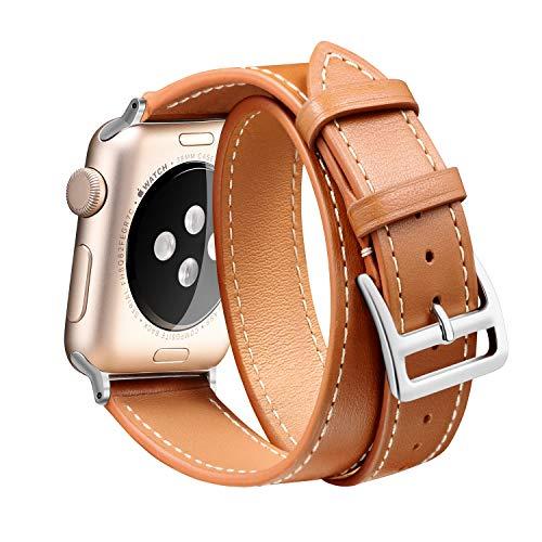 Ribivaul Doble Círculo Correa de Reloj De Cuero para Mujer Compatible con para Apple Watch Serie 4,3,2,1(Color:Marrón, Negro,Rojo)