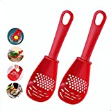6 in 1 Multifunctional Kitchen Cooking Spoon, 2Pcs Heat Resistant Skimmer Spoon Kitchen Gadgets Strainers for egg yolk Separator, Colander Skimmer Scoop for Cooking,Mashing, Grating, Draining,Beating