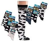 TippTexx 24 6 Paar Fun Socken mit Kuhmotiven, Spaß mit Strümpfen mit Garantie (35-38 = 9-10 Jahre)
