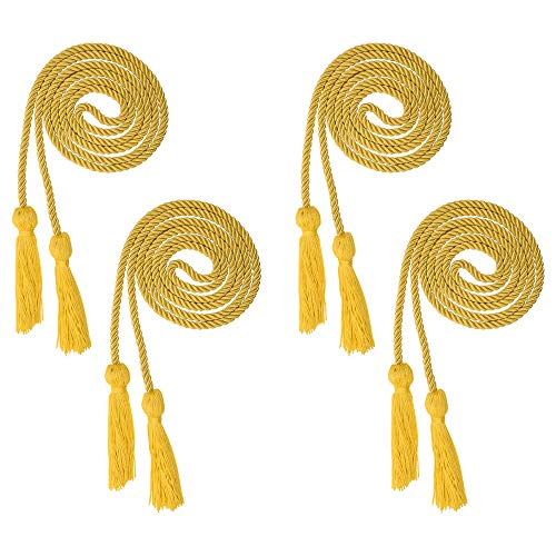 Beautyflier Pack of 4 Graduation Honor Braided Cords with Sewing Tassels Polyester Yarn Honor Cord for Bachelor Gown for Graduation Students (Gold(4pcs))