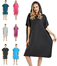 CAREWORX Surf Beach Poncho Wetsuit Changing Towel Bath Robe Poncho with Hood for Surfing Swimming Bathing Adults Men Women -One Size Fit All(Black)