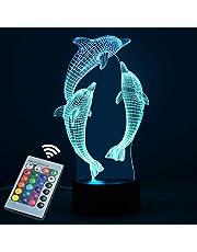Lampka nocna 3D dla chłopców dziewcząt lampa biurkowa z przełącznikiem dotykowym pilot 16 zmieniających się kolorów - CNSUNWAY LIGHTING idealne prezenty urodziny festiwal Boże Narodzenie dla niemowląt nastolatków przyjaciół