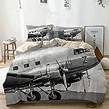 Juego de funda nórdica beige, cabina de avión de pasajeros antiguo, hélices de motor antiguo, imagen de alas y nostalgia, ropa de cama decorativa de 3 piezas Scon 2 fundas de almohada Easy Care Anti-A