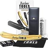 ✮ Barber Tools ✮ Rasoio mano libera con lama intercambiabile. Con 5 doppie lame (10 lame semplici) + Panno per lucidatura + pu per lo stoccaggio + Bastone emostatico 10g