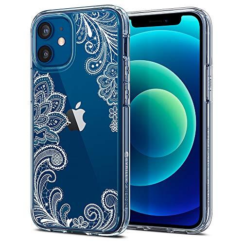 CYRILL de Spigen Cecile Funda Compatible con iPhone 12 Mini Suave TPU Bumper y Transparente Duro PC Case - Mandala Blanco