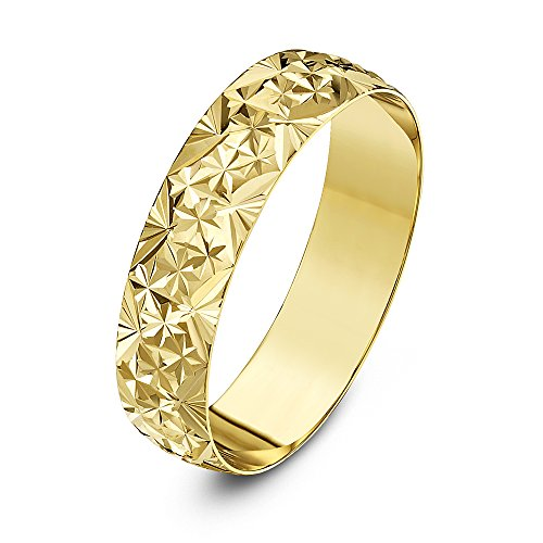 Theia Unisex Heavy Weight 5 mm D Shape with Diamond Like Design 9 ct Yellow Gold Wedding Ring - S