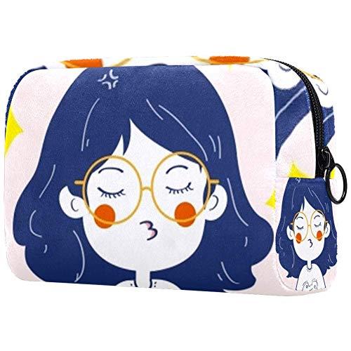 Bolsa de brochas de maquillaje personalizable, bolsa de aseo portátil para mujeres, bolso cosmético, organizador de viaje, gafas y pitidos de niña