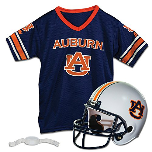 Franklin Sports Auburn Tigers Kids College Football Uniform Set - NCAA Youth Football Uniform Costume - Helmet, Jersey, Chinstrap Set - Youth M