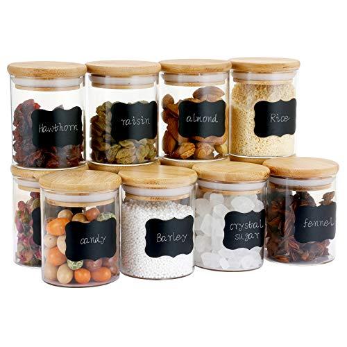 Astoryou Juego de 12 tarros de cristal con tapa, tarros de cristal herméticos para especias, con tapa (65 x 80 cm)