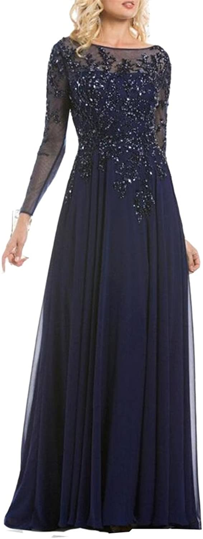 Emmani Women's Sheer Neck Illusion Long Sleeve Mother Dresses
