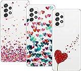 Young & Min Compatible con Funda Samsung Galaxy A32 4G [No para 5G Versión], 3 Pack Transparente TPU Carcasa Delgado Anti-Choques con Dibujo de Corazón