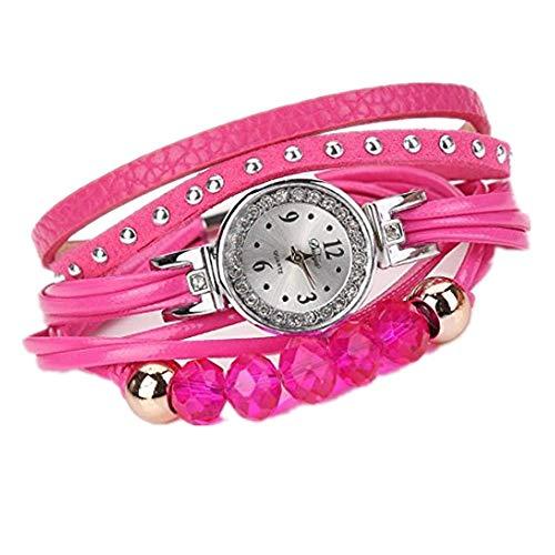 Relojes de Mujer Rosa 2018 Cuarzo con Pulsera Reloj de Piedras Preciosas Popular por ESAILQ