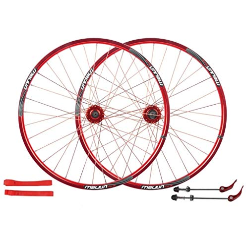 Ultralight 26 Inch Cycling Wheels, Mountain Bike Disc Brake Wheel Set Quick Release Palin Bearing 7/8/9/10 Speed Only 1560g Wheel (Color : Red, Size : 26 Inch)