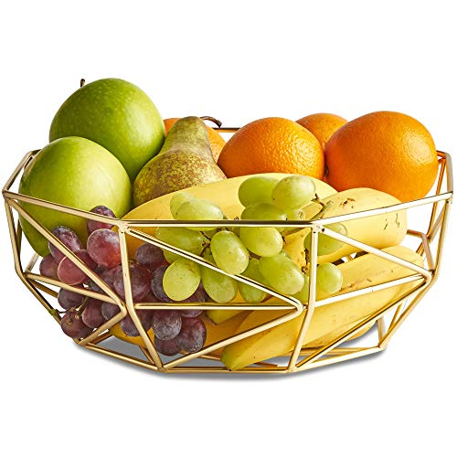 VonShef Gold Geo Fruit Bowl for Kitchen Countertops, Stainless Steel Wire Frame Basket, FDA Approved For Food Use, 10 x 4 Inches