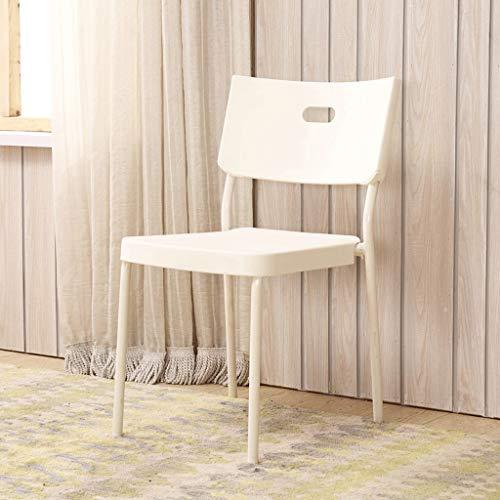 DYY Chair Home Simple eettafel en stoel met rugleuning multifunctioneel milieuvriendelijk PP materiaal vrije tijd stoel smeedijzer bank poten