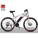 HWOEK Vélo électrique Tout-Terrain Adulte, 26' Vélo électrique VTT Vélo Amovible Batterie Lithium-ION 21/27 Vitesses,White Red,A 36V8AH