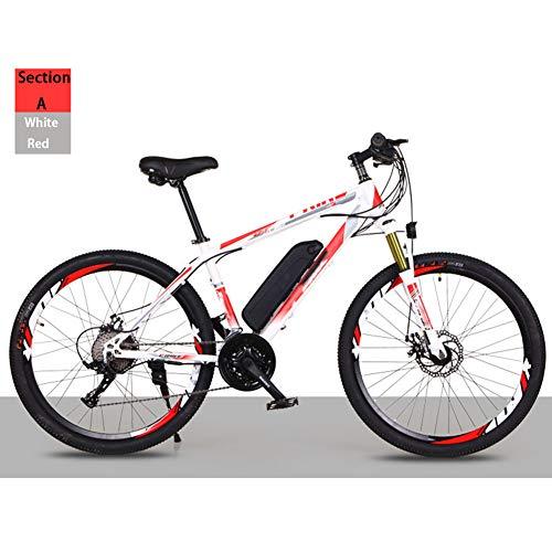 """HWOEK Vélo électrique Tout-Terrain Adulte, 26"""" Vélo électrique VTT Vélo Amovible Batterie Lithium-ION 21/27 Vitesses,White Red,A 36V8AH"""