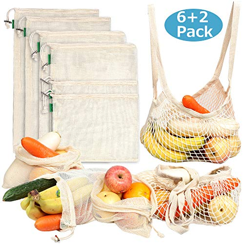 AivaToba 8 Pack Reusable Produce Bags - Cotton Mesh Produce Bags, Premium Washable Grocery Bags with Tare Weight for shopping Fruit Vegetable, Toys Storage