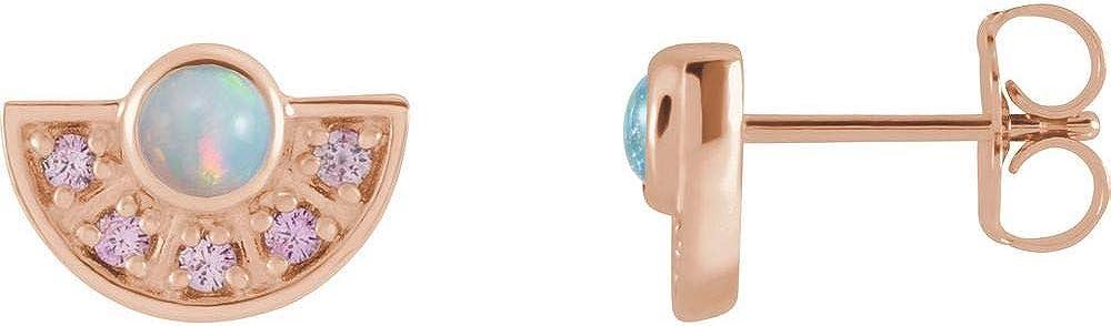 Ethiopian Opal and Pink Sapphire Fan Stud Earrings (10mm x 7.3mm)