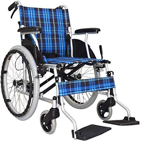 Hyy-yy Manual de la silla de ruedas de aluminio silla de ruedas plegable ligero de la silla de ruedas, la rueda delantera de choque de absorción de diseño, inflable de goma de la rueda trasera, Apto f
