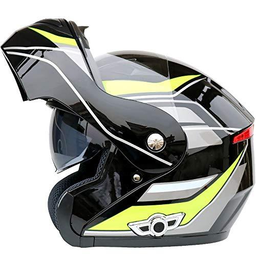 Casco Bluetooth integrado para motocicleta, casco modular de cara completa, casco abierto, casco de motocicleta todoterreno con auriculares Bluetooth, parasol de doble lente antivaho, unisex