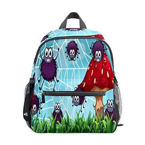 Preshool Rucksack Spinnen klettern auf dem Spinnennetz, Cartoon-Pilz, Kleinkind, Mini-Schultasche, Tagesrucksack für Jungen und Mädchen