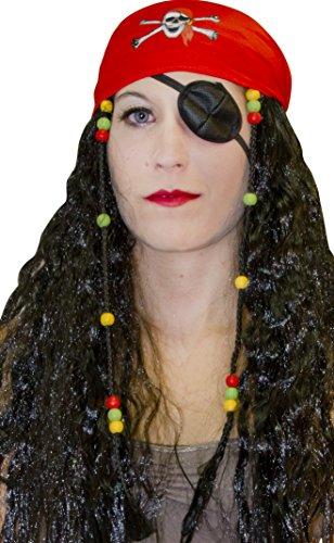 AEC - Pe637 - Set perruque pirate mixte avec fichu tete de mort, perle