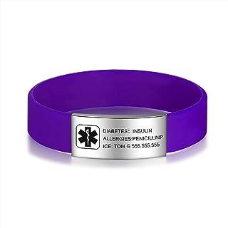 Lam Hub Fong Personalized Silicone Medical Alert Bracelets Waterproof Sport Emergency ID Bracelets for Men Women Boys Girls