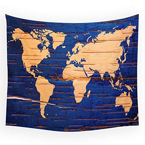 KHKJ Mapa del Mundo Tapiz de Pared Shabby Chic Manta para Colgar en la Pared Mapa de Paisaje turístico Decoración Decoraciones para el hogar Tapiz de Dormitorio A17 200x180cm