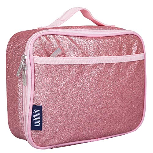 Wildkin Kids Insulated Lunch Box Bag for Boys and Girls, Perfect Size for Packing Hot or Cold Snacks for School & Travel, Measures 9.75 x 7.5 x 3.25 Inches, Mom's Choice Award Winner (Pink Glitter)