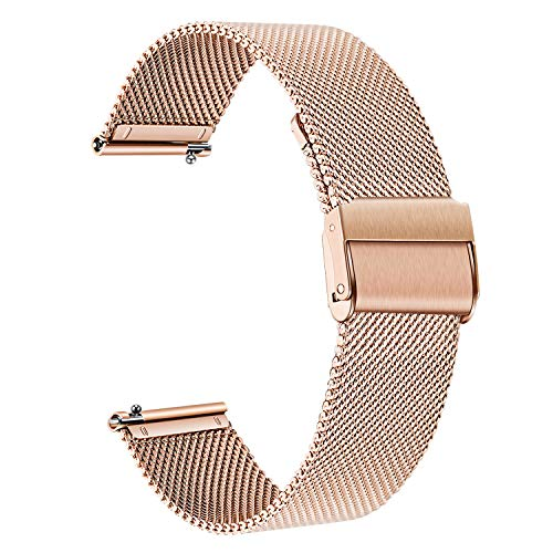 TRUMiRR Reemplazo para Samsung Galaxy Watch 42mm/Galaxy Watch Active/Gear Sport Correa de Reloj, 20mm Correa de Reloj de Malla de Acero Inoxidable Tejida Pulsera para Garmin Vivoactive 3/3 Music