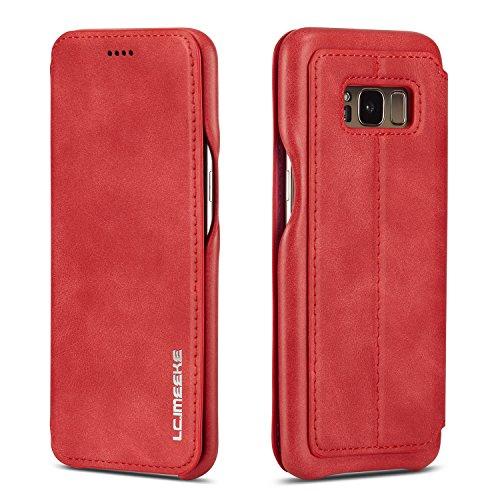 QLTYPRI Hülle für Samsung Galaxy S8, Ultra Dünne Ledertasche Handyhülle mit Kartenfach & Standfunktion Magnetverschluss Flip Schutzhülle Kompatibel mit Samsung Galaxy S8 - Rot