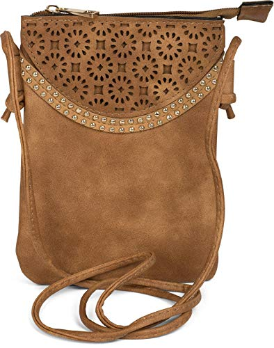 styleBREAKER minibolso de Bandolera con Motivo Recortado de Flores y Remaches, Bolso de Hombro, Bolso, de señora 02012127, Color:Camel