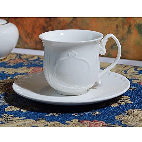 WQDS Tazas de Porcelana para Capuchino con platillos - 200 ml para Bebidas de café Especiales, café con Leche, café Moca y té Blanco