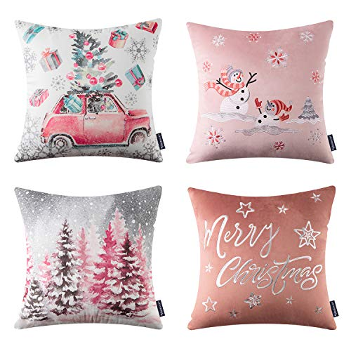 Phantoscope Set of 4 Merry Christmas Decorative Print and Embroidery Velvet Throw Pillow Covers Snowman, Star, Snowflake, Tree Cushion Cover, Pink, 18 x 18 inches, 45 x 45 cm