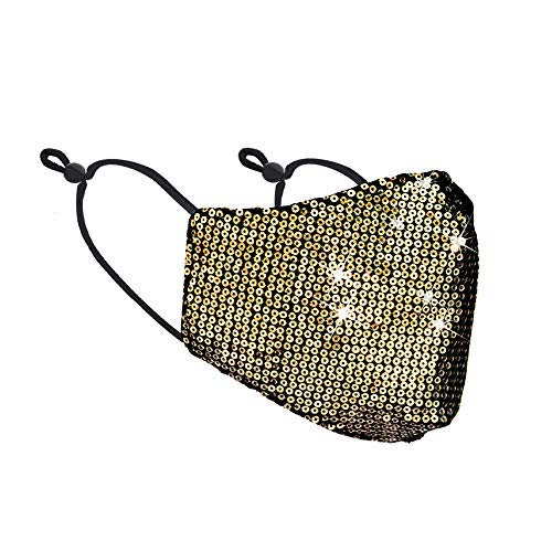Women's Lady's Sequin Glitter Fabric Fashion Bling Face Nose Mask With Adjustable Ear Loops - Washable Reusable, Breathable Comfort, Non-Surgical Safety Mask For Indoors/Outdoors USA Seller (Gold)