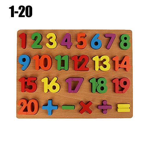 aiwikang Cadeau Alphabet Nombre Baby Hand Puzzle en Bois Jouet Puzzle Éducation précoce(1-20)