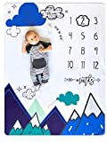 "Nurture Bird Baby Monthly Milestone Blanket | Includes Cloud Frame | Large Soft Fleece Month Blanket | Newborn Photography Gift for Baby Shower | Blue Mountain Adventure | 50"" x 40"""