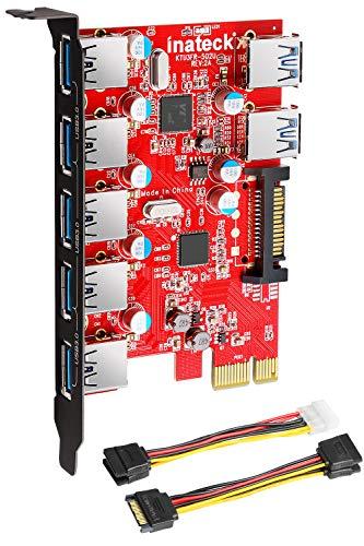 Inateck Tarjeta de expansión USB 3.0 (7 Puertos), Color Negro y Rojo (Ordenadores personales)