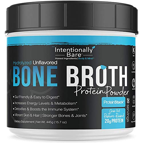 Pure Bone Broth Protein Powder - 20 Grams Protein - Supports Keto & Paleo Diets - Collagen Types 1, 2 & 3 - from Grass-Fed, Pasture Raised Cows - Dairy Free, Non-GMO - Unflavored, 20 Servings