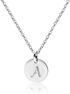 Stainless Steel Silver Tone Initial Necklace Alphabet 0.4
