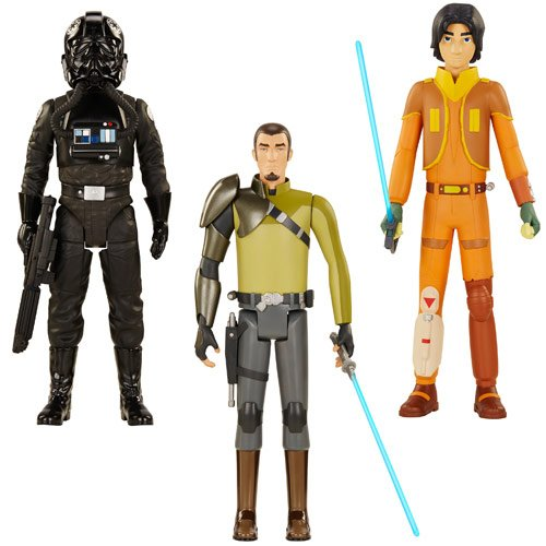 Star Wars Rebels Ezra, Kanan, and a TIE Pilot 20-inch Wave 1 Action Figures Set of 3 image