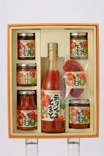 【ギフト】 デリシャストマト Lセット (トマトジュース 720g、赤トマトジャム 150g、青トマトジャム 150g、トマトケチャップ 250g、トマト辛味噌 180g トマトソース 280g、ドライトマト 15g)×1箱 デリシャスファーム トマトのお