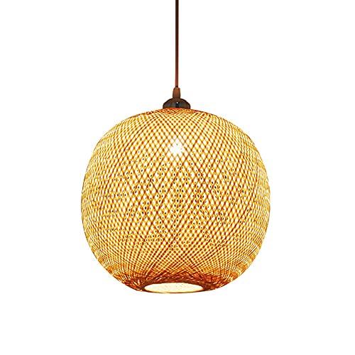 CSSYKV Diseño De Arte De Estilo Chino Lámpara Colgante De Tejido De Bambú Moderno Creativo Redondo Hecho A Mano Lámpara Colgante De Mimbre De Bambú Para Restaurante Bar Dormitorio Lámpara Colgante E27
